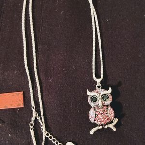 NEW BETSEY JOHNSON CRYSTAL OWL NECKLACE
